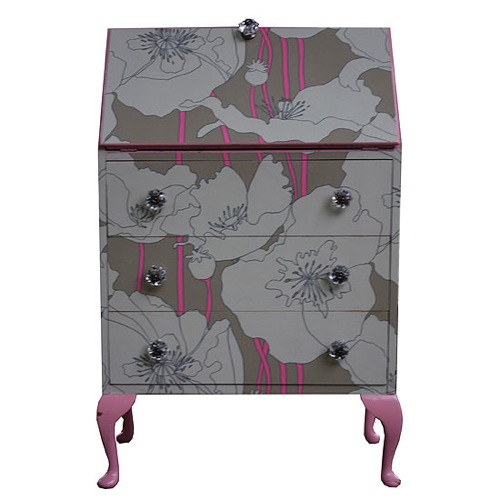 Reciclar muebles con papeles estampados decoradoras decocasa for Papel forrar muebles