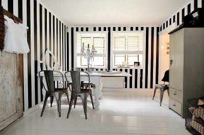 Paredes elegantes en rayas blanco y negro decoradoras decocasa - Habitaciones blancas y negras ...