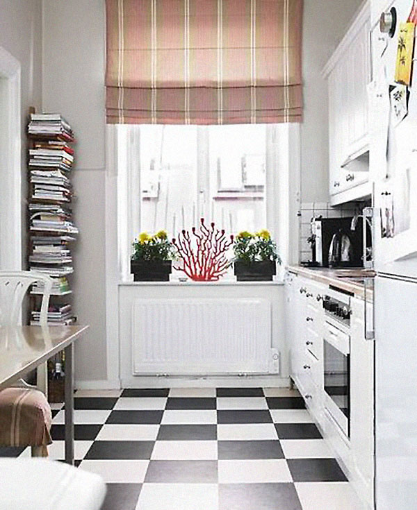 Galley Kitchen Flooring Ideas: Piso Damero En La Cocina