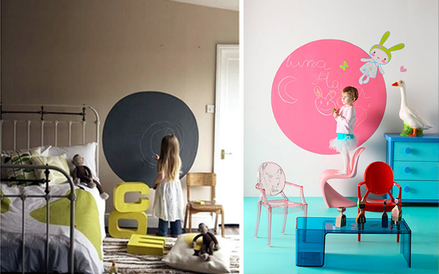 Decora con pintura pizarra decoradoras decocasa for Pintura pizarra pared
