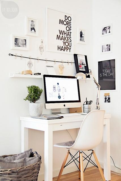en este caso se trata de un escritorio donde el negro gracias a la utilizacin de pintura pizarra manda y la madera lo secunda